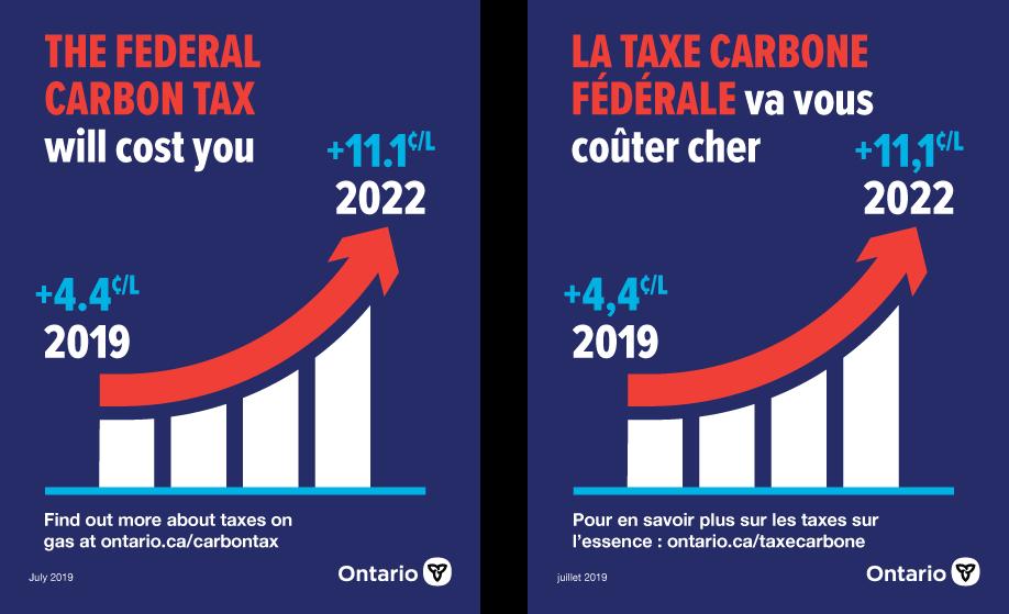un autocollant indiquant la position du gouvernement provincial par rapport à la taxe fédérale sur le carbone
